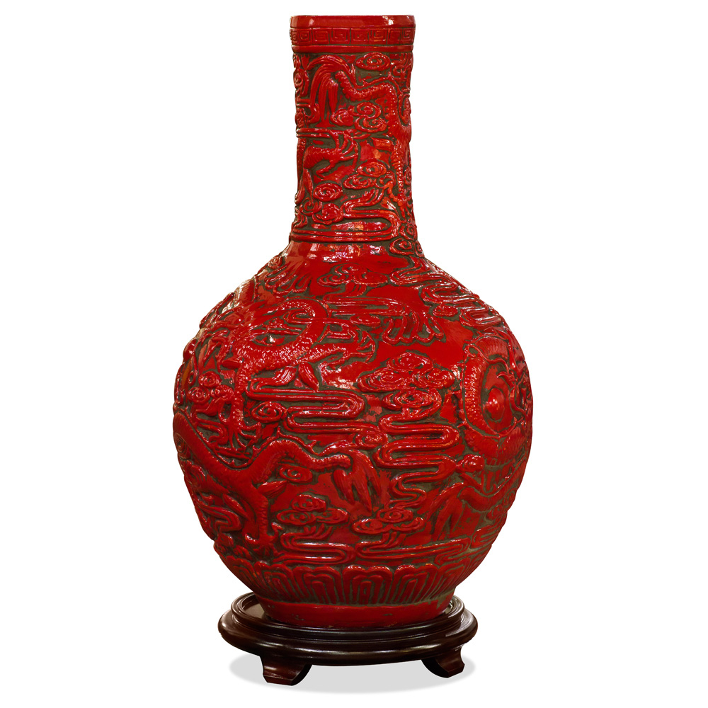 Red Porcelain Imperial Dragon Temple Vase