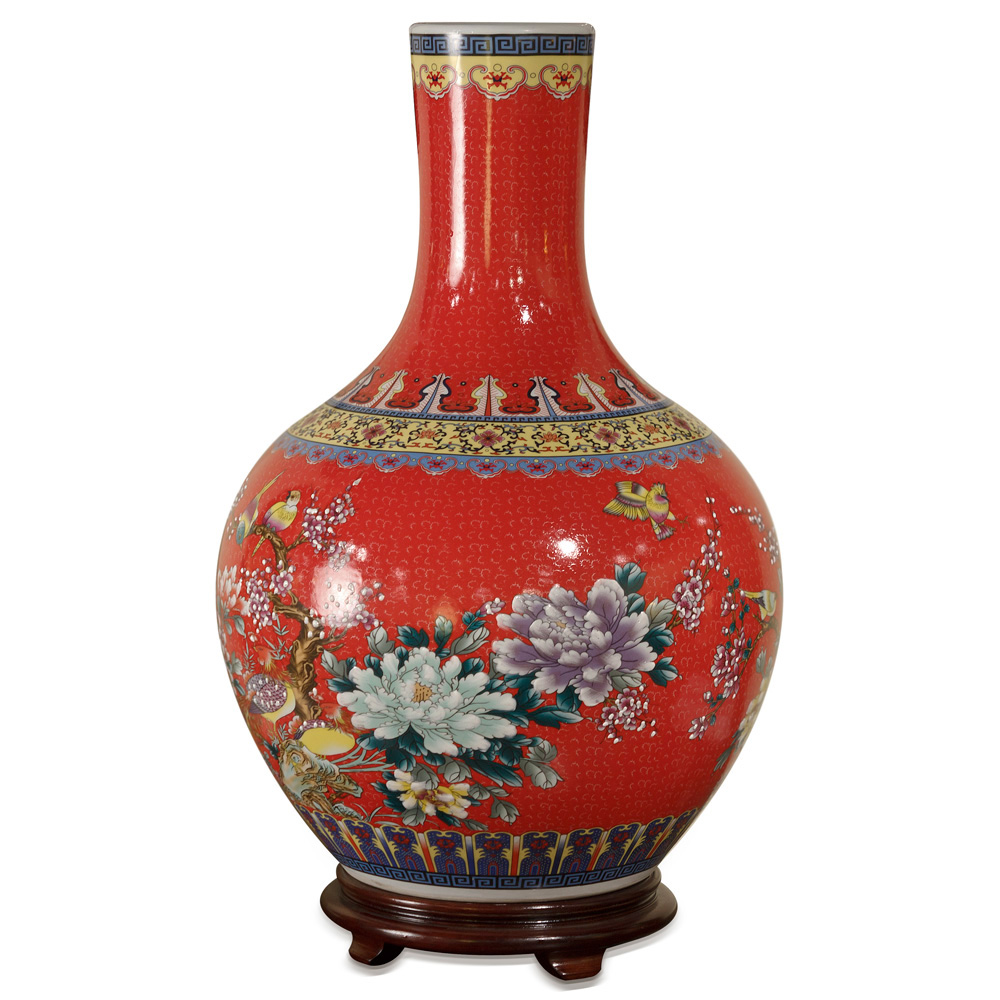 Red Porcelain Temple Vase