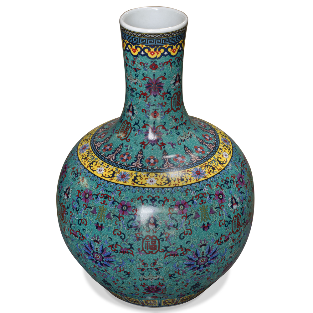 Blue Porcelain Temple Vase with Chinese Flower Design