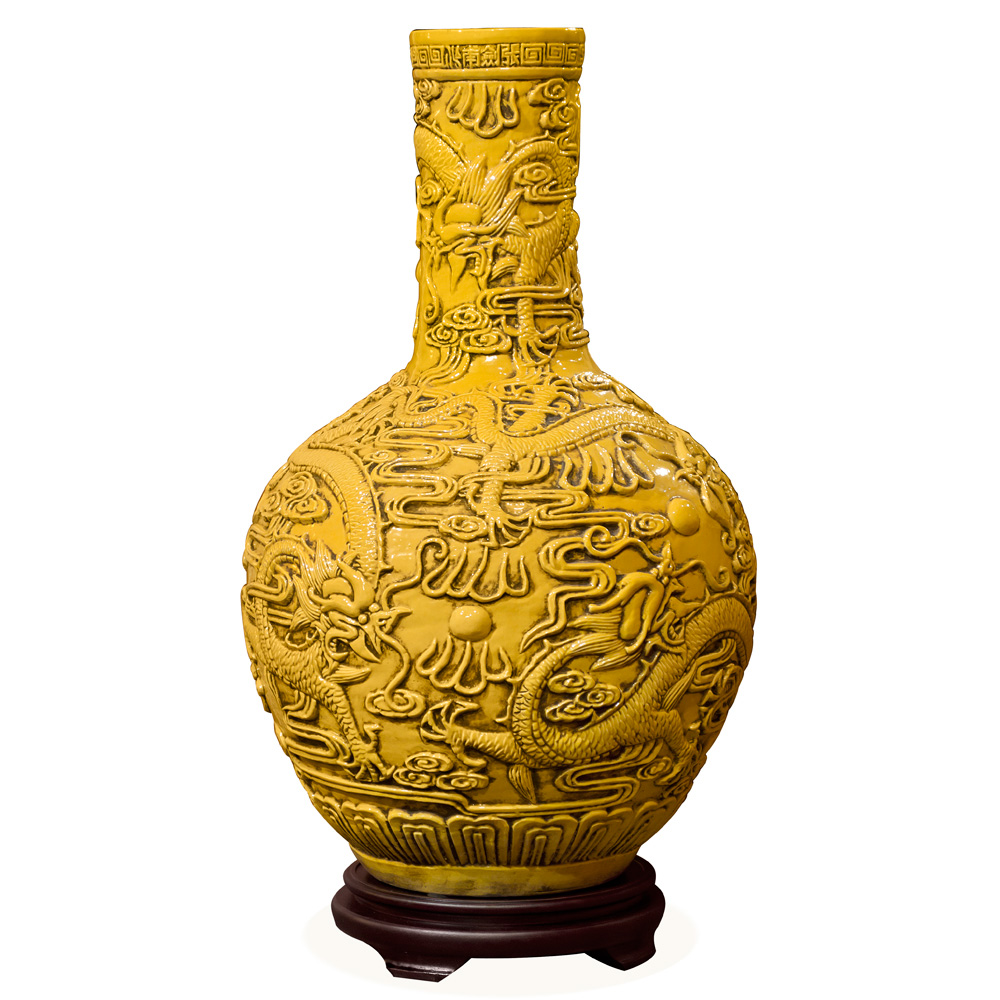 Yellow Porcelain Imperial Dragon Chinese Temple Vase