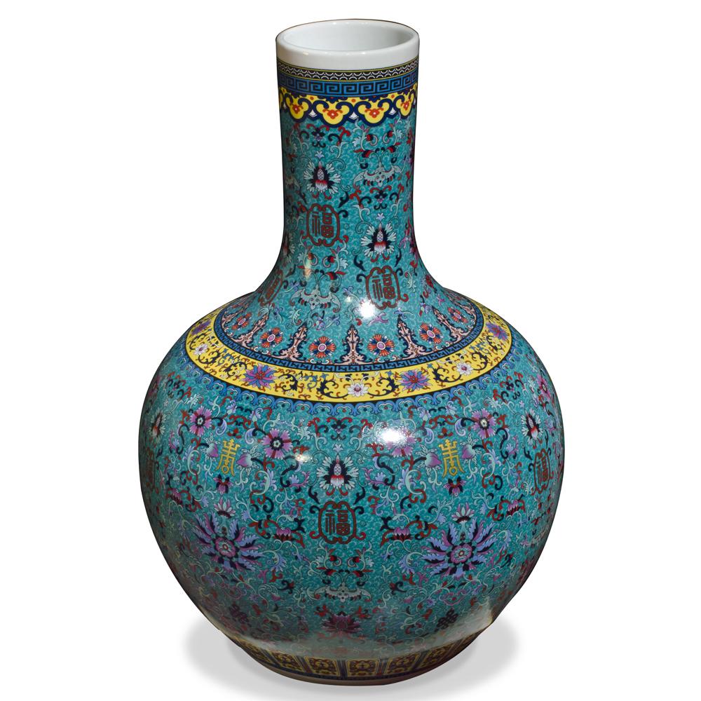 Dark Teal Blue Imperial Chinese Porcelain Temple Vase