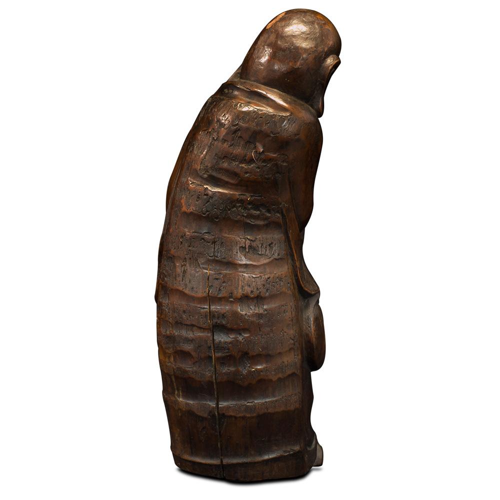 Bamboo Root Carving Monk Asian Sculpture