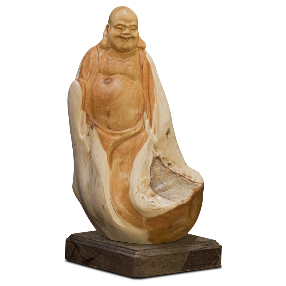 Cedar Wood Root Carving Happy Buddha