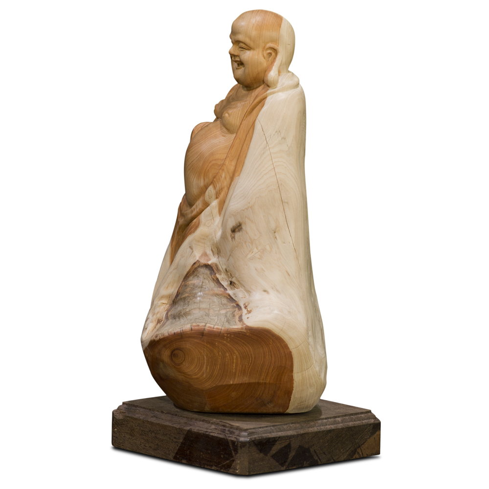 Cedar Wood Root Happy Buddha Sculpture