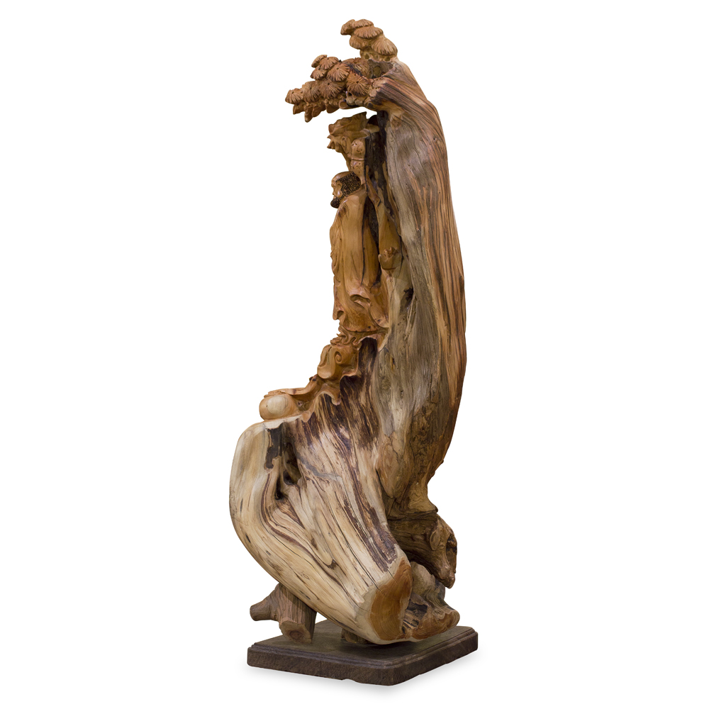 Cedar Wood Root Carving Da Mo with Pine Tree