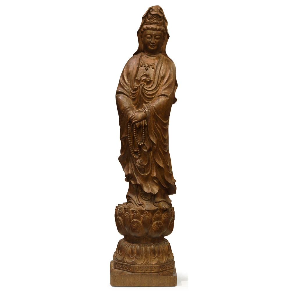 Wooden Standing Guanyin Oriental Statue