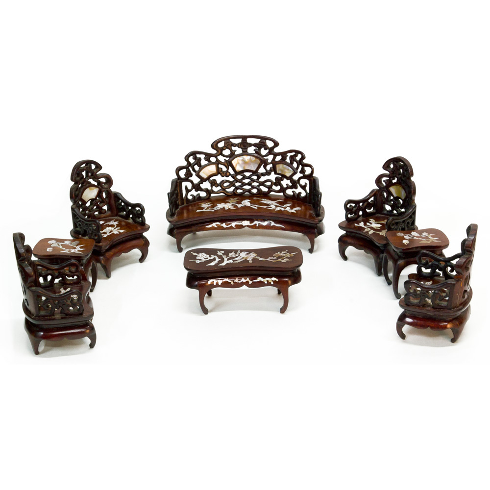 Hand-Carved Rosewood Miniature Chinese Living Room Set