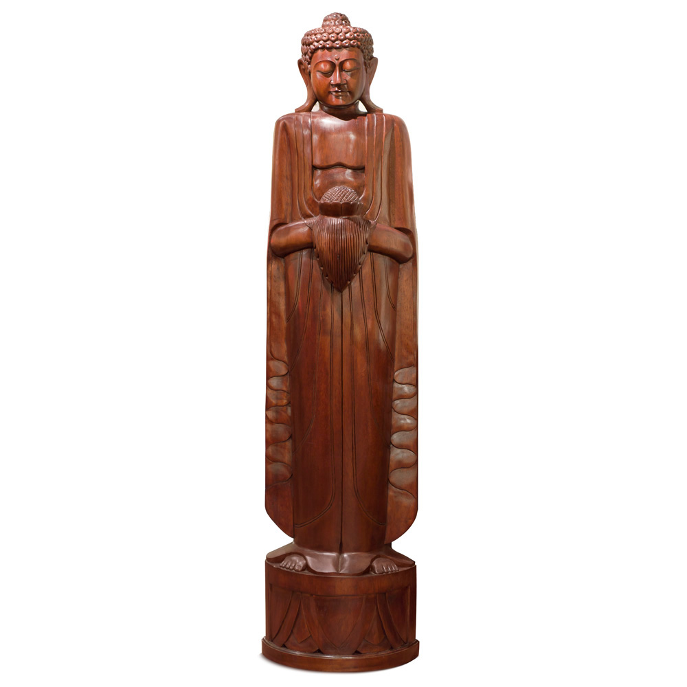 Hand Carved Teakwood Thai Buddha