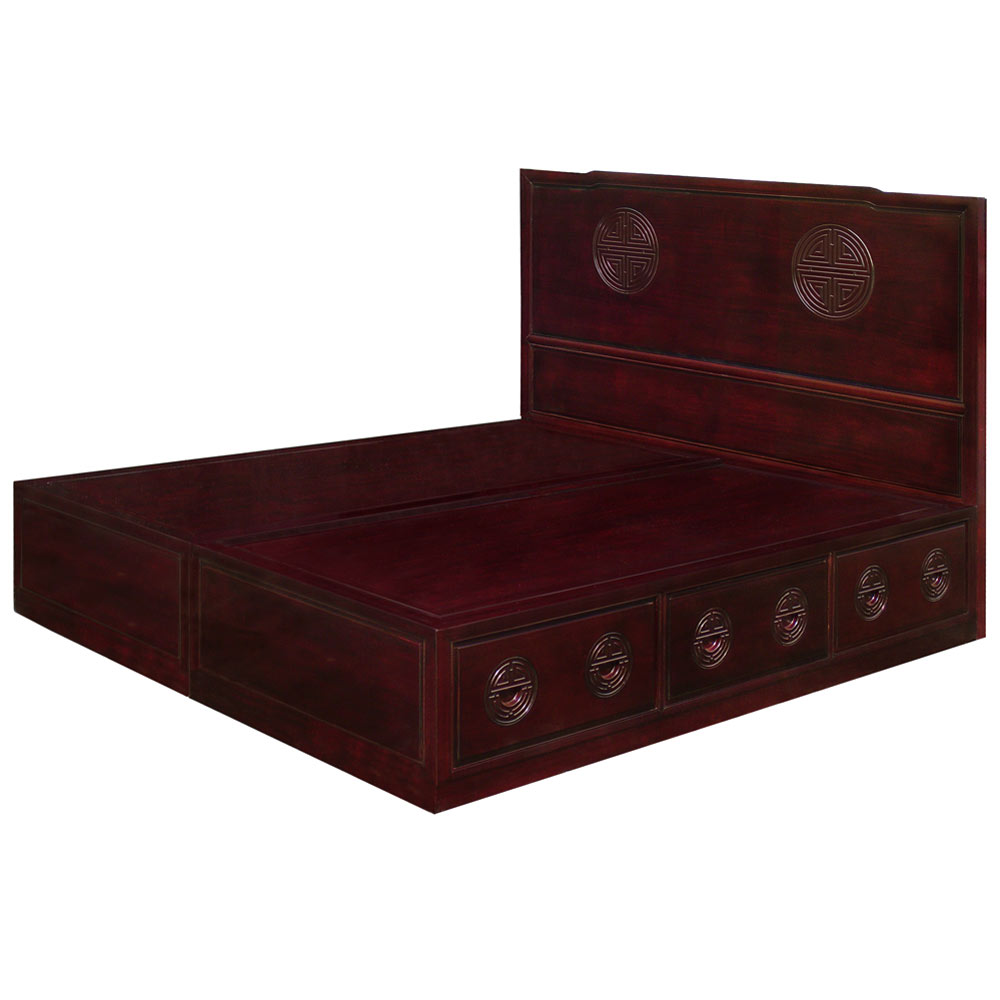Platform Beds W Drawers : Rosewood longevity design king size platform bed w drawers