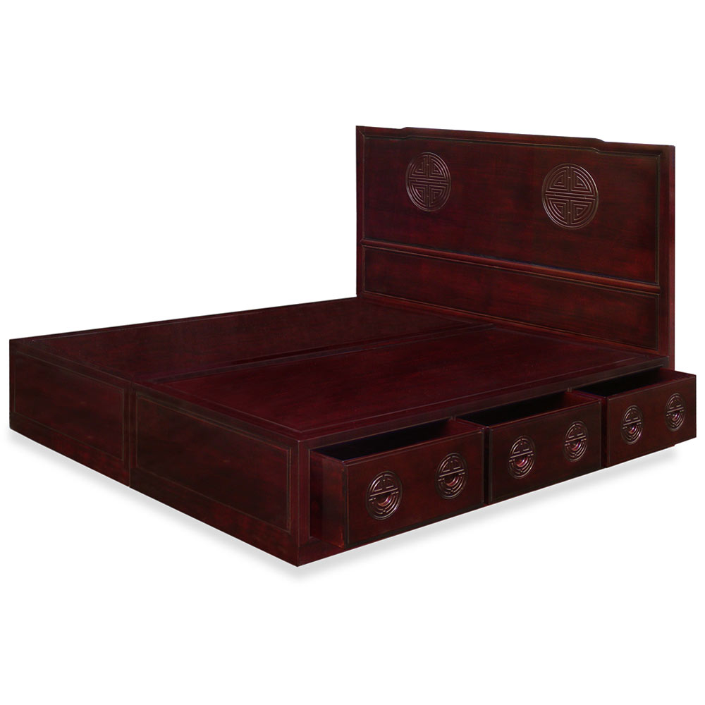Dark Cherry Rosewood Longevity King Size Platform Bed with Drawers