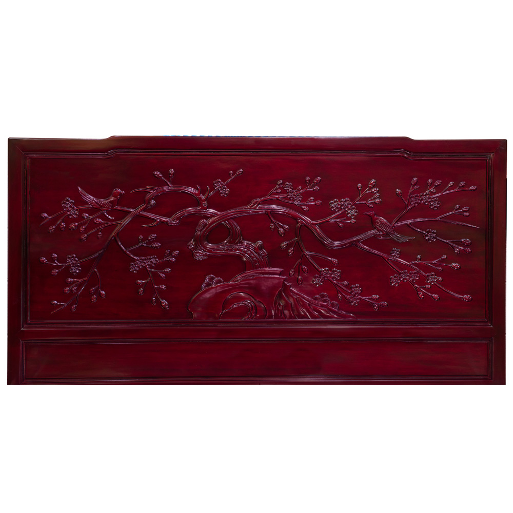 Dark Cherry Rosewood Flower and Bird King Size Chinese Platform Bed with Drawers