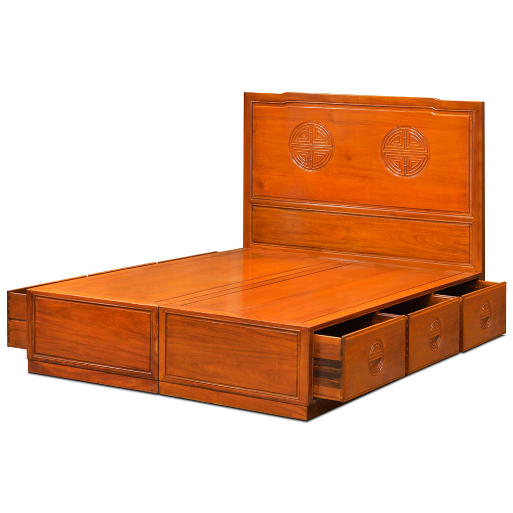 Natural Finish Rosewood Queen Size Chinese Longevity Platform Bed with Drawers