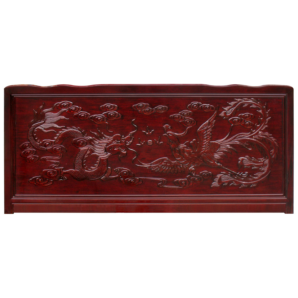 Dark Cherry Rosewood Imperial Dragon and Phoenix King Size Oriental Platform Bed with Drawers