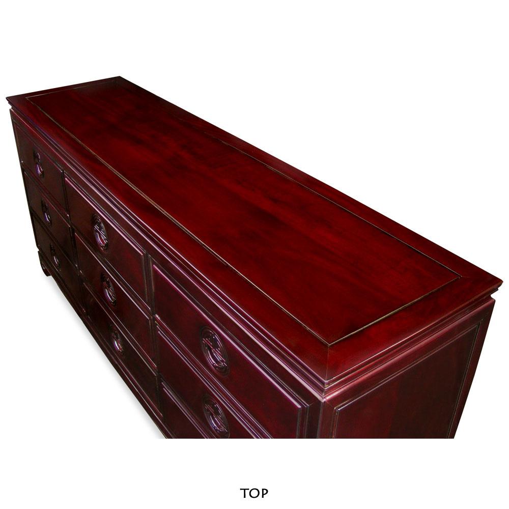 Dark Cherry Rosewood Longevity Chest of 9 Drawers