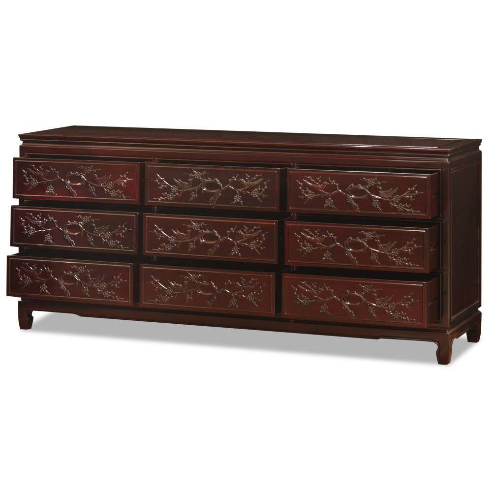 Dark Cherry Rosewood Flower and Bird Chest of 9 Drawers