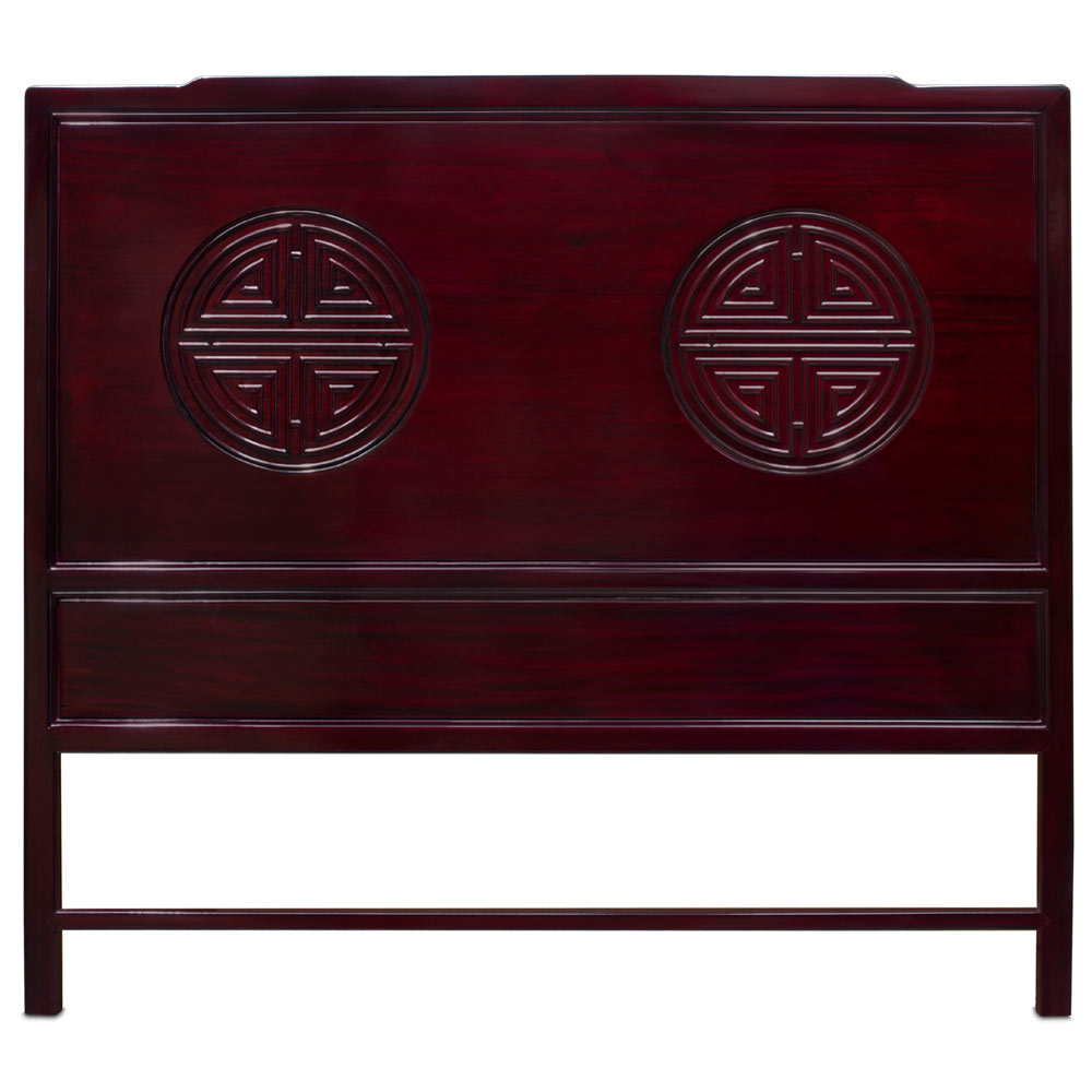 Dark Cherry Rosewood Queen Size Chinese Longevity Headboard