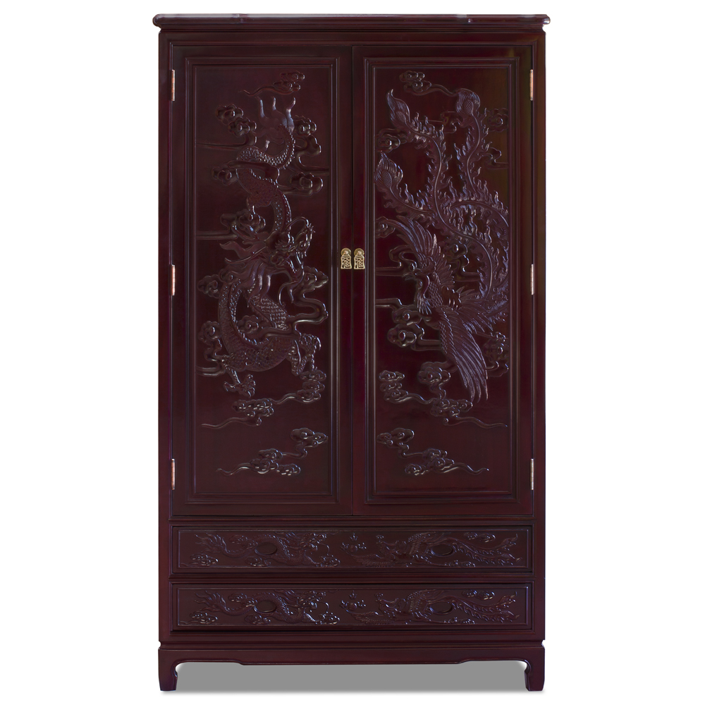 Dark Cherry Rosewood Dragon and Phoenix Armoire