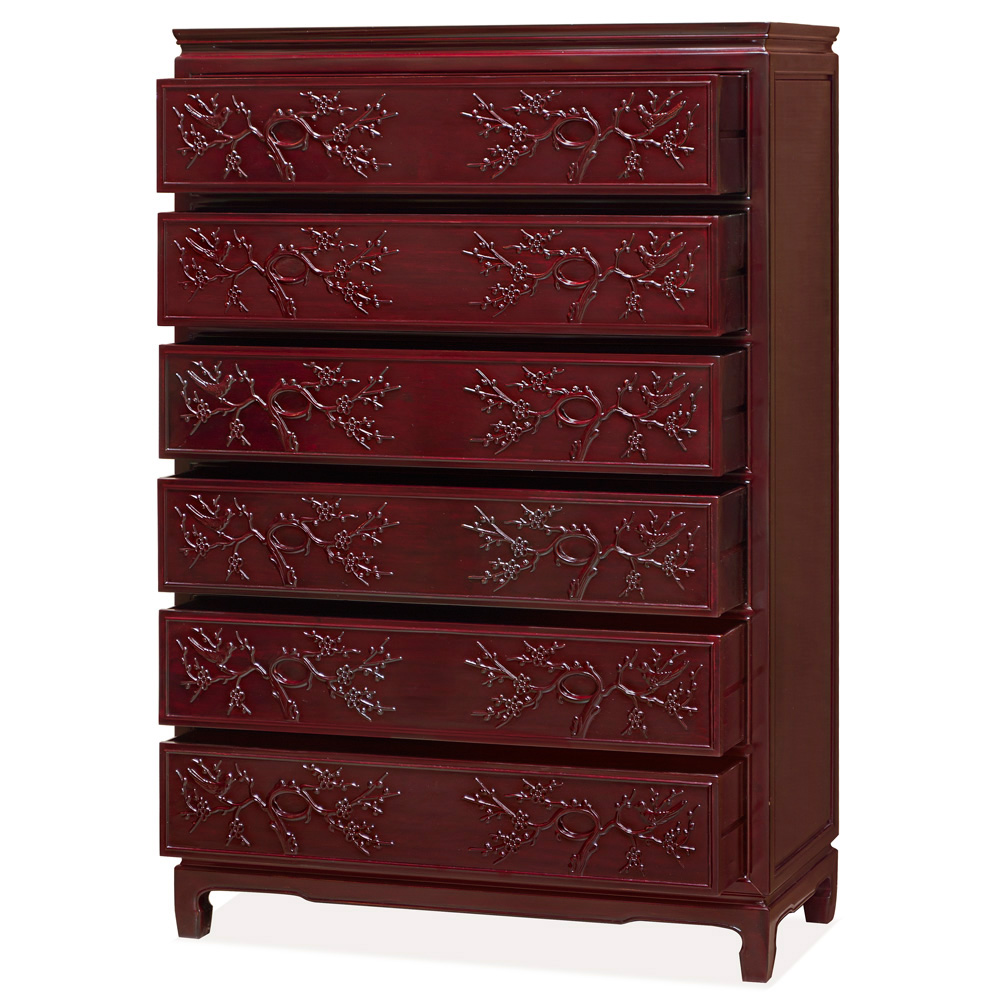 Dark Cherry Rosewood Flower and Bird Chinese High Chest of Drawers