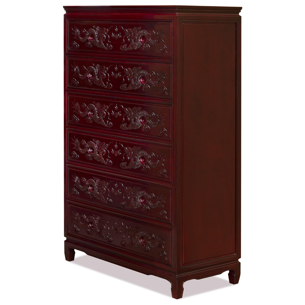 Dark Cherry Rosewood Dragon High Chinese Chest of Drawers