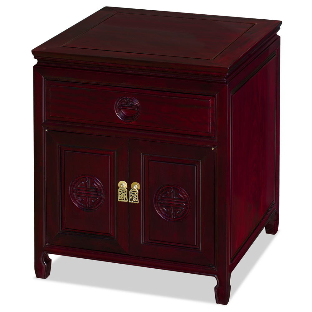 Dark Cherry Rosewood Chinese Longevity Design Nightstand