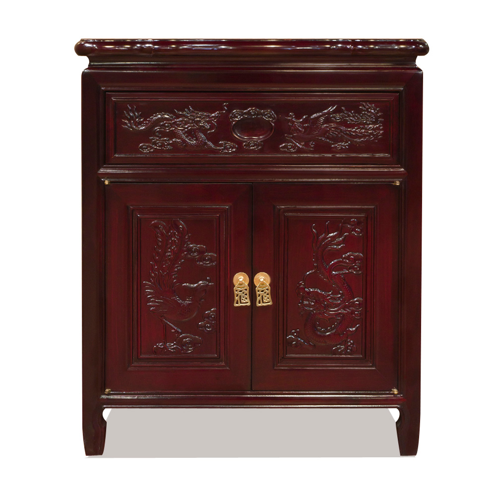 Rosewood Dragon & Phoenix Night Stand