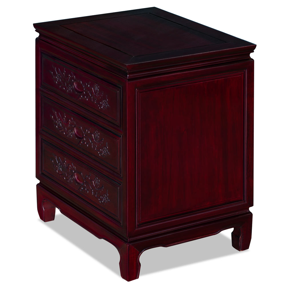 Dark Cherry Rosewood Flower and Bird Motif Oriental Nightstand