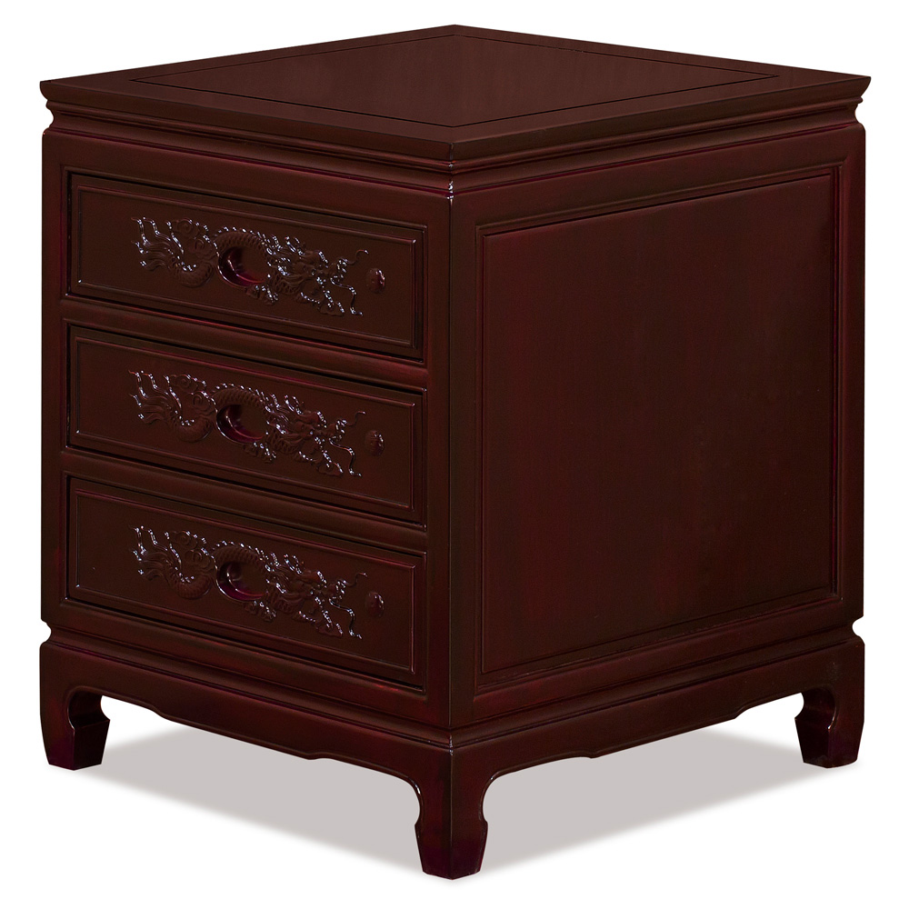 Dark Cherry Rosewood Dragon Chinese Nightstand