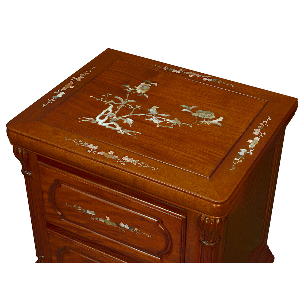 Rosewood Pearl Inlaid Ru-Yi Night Stand
