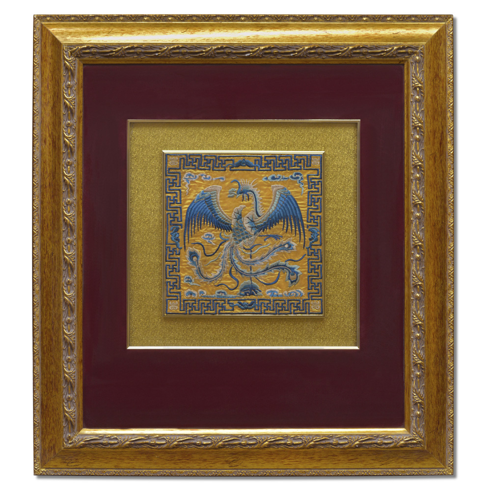 Silk Embroidery of Dragon and Phoenix Shadow Box Set