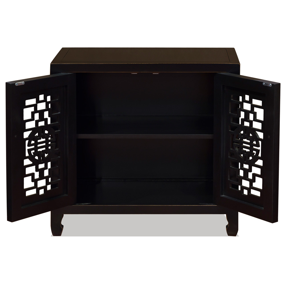 Black Distressed Elmwood Chinese Longevity Cabinet with Geometric Lattice Doors