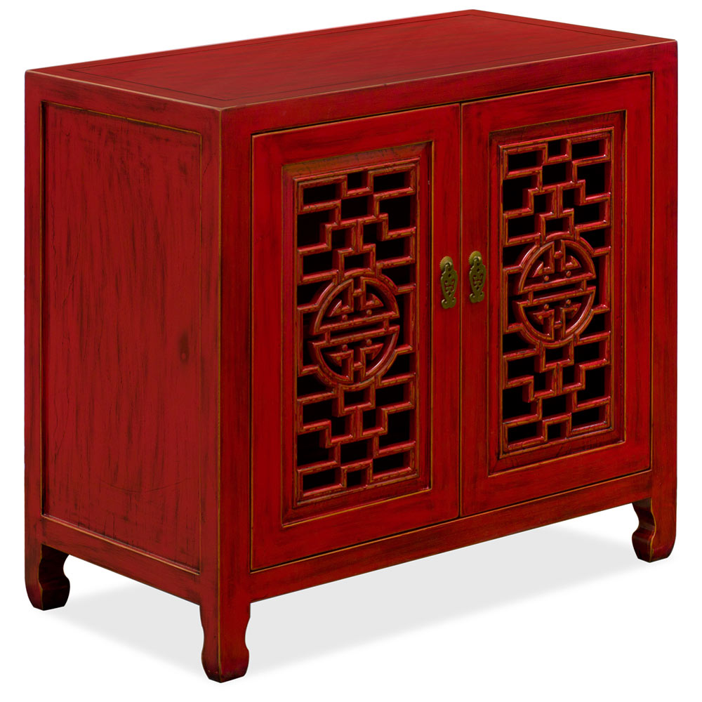 Red Distressed Elmwood Chinese Longevity Cabinet with Geometric Lattice Doors