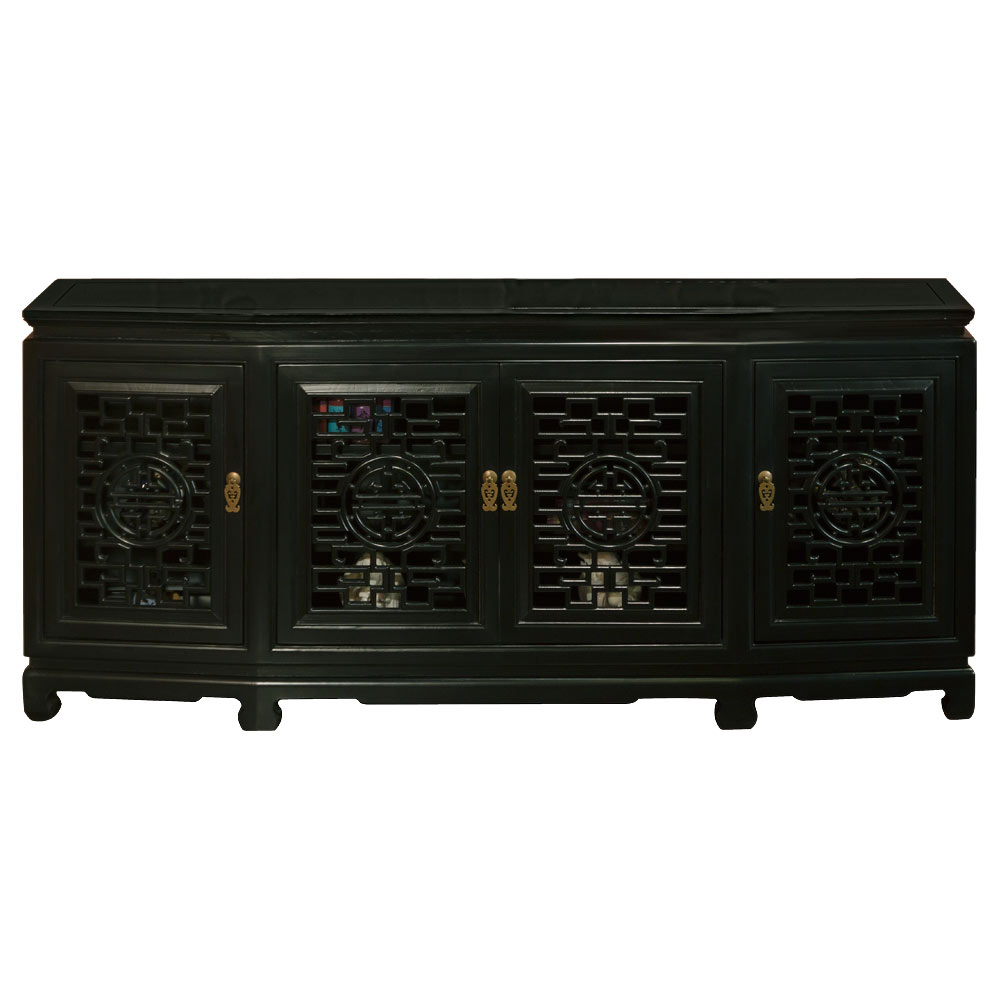 Black Elmwood Chinese Longevity Sideboard with Geometric Lattice Doors