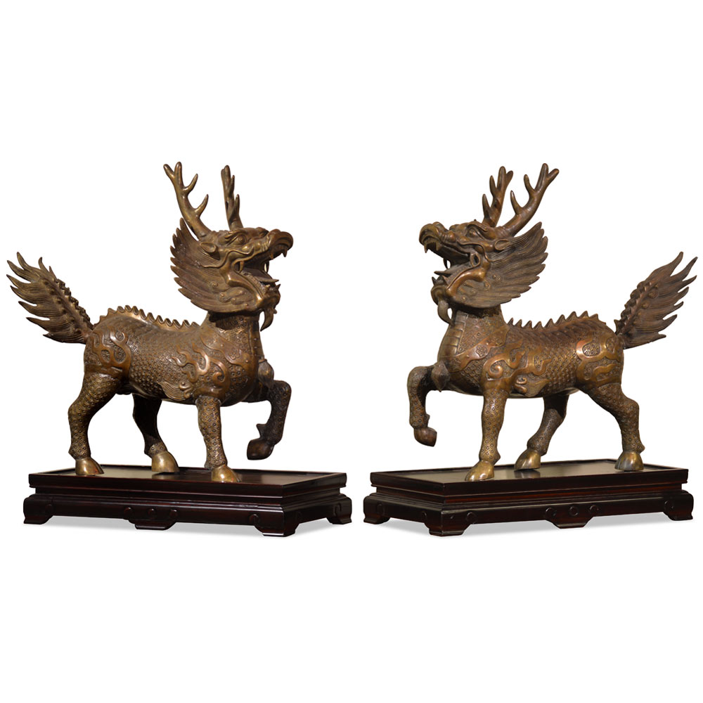 Bronze Marching Kirin Oriental Statue Set