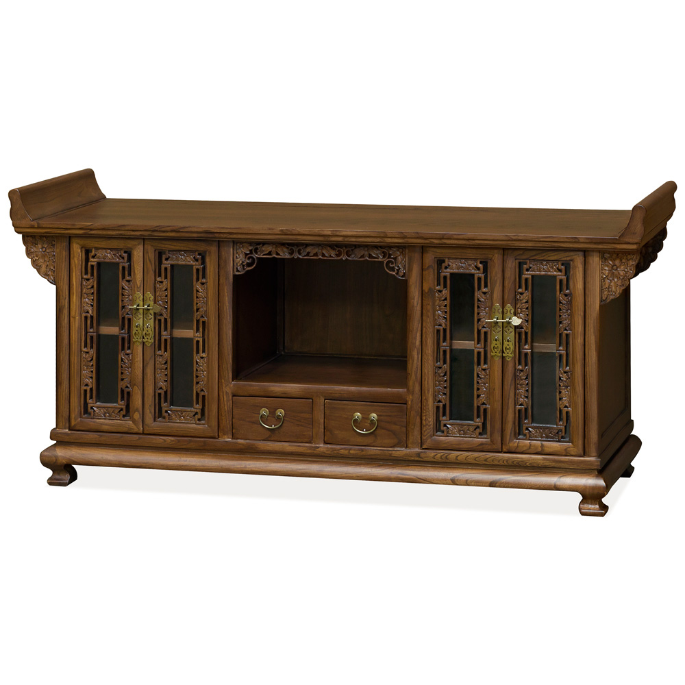 Elmwood Altar Style Imperial Media Cabinet with Intricate Carvings