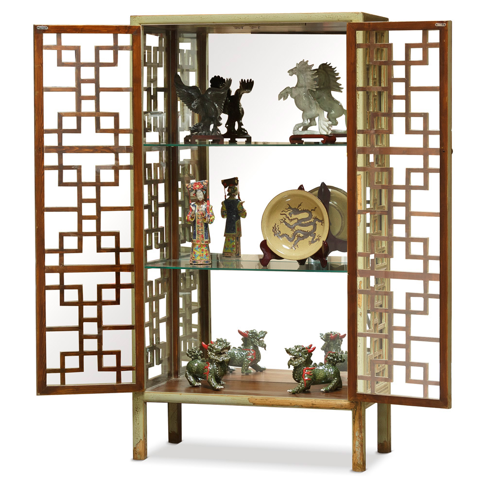 Distressed Green Elmwood Window Panel Display Asian Bookcase