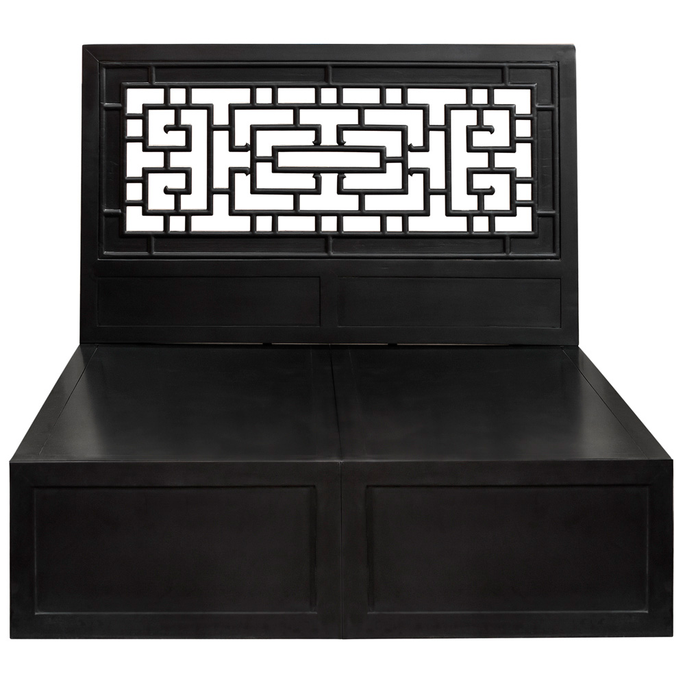 Matte Black Elmwood Ming Queen Size Platform Bed with Lattice Headboard