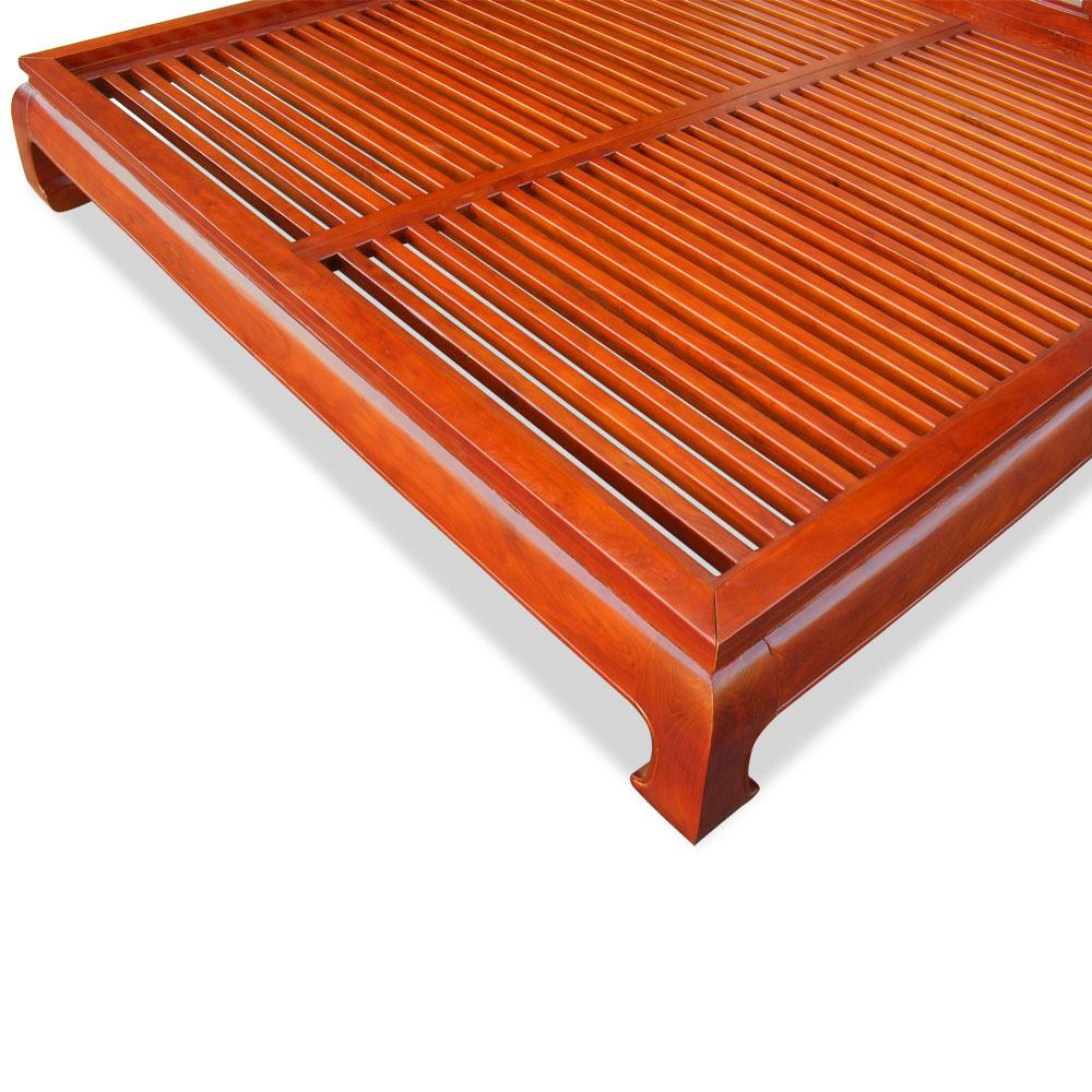 Honey Elmwood Ming King Size Chinese Platform Bed with Lattice Headboard