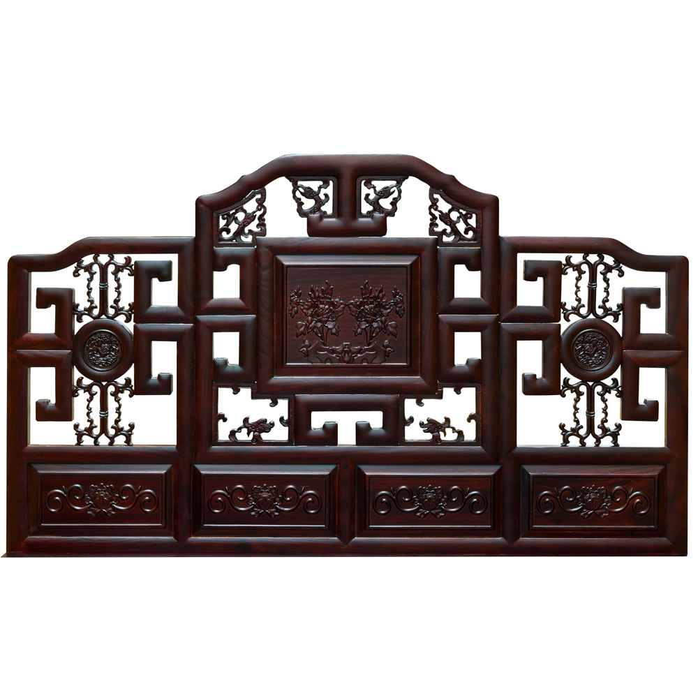 Dark Cherry Elmwood Imperial Qing Queen Size Platform Bed with Lattice Headboard