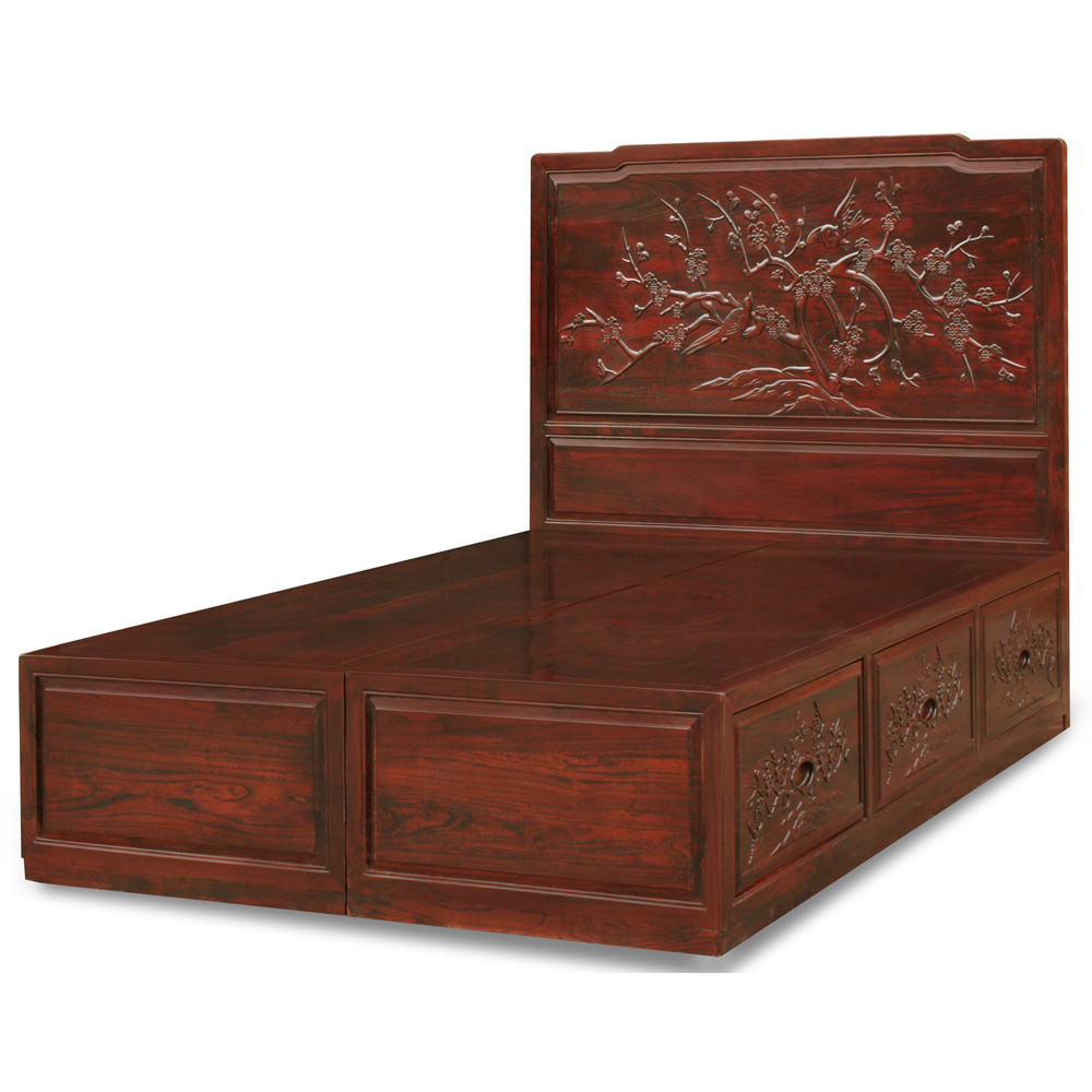 Dark Cherry Elmwood Flower and Bird Full Size Platform Bed with Drawers