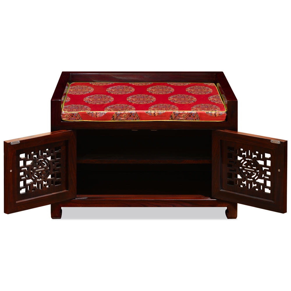 Dark Cherry Elmwood Longevity Chinese Shoe Bench