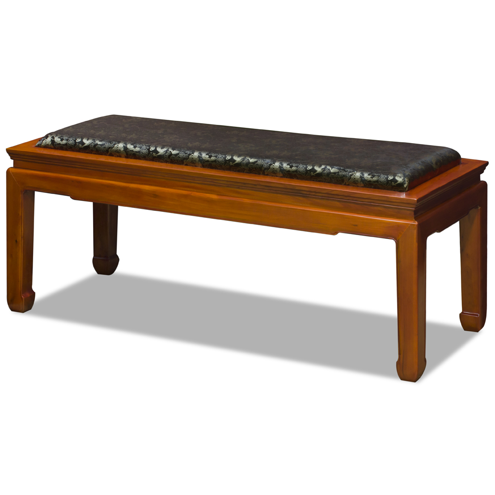 Natural Finish Elmwood Oriental Bench with Black Silk Cushion
