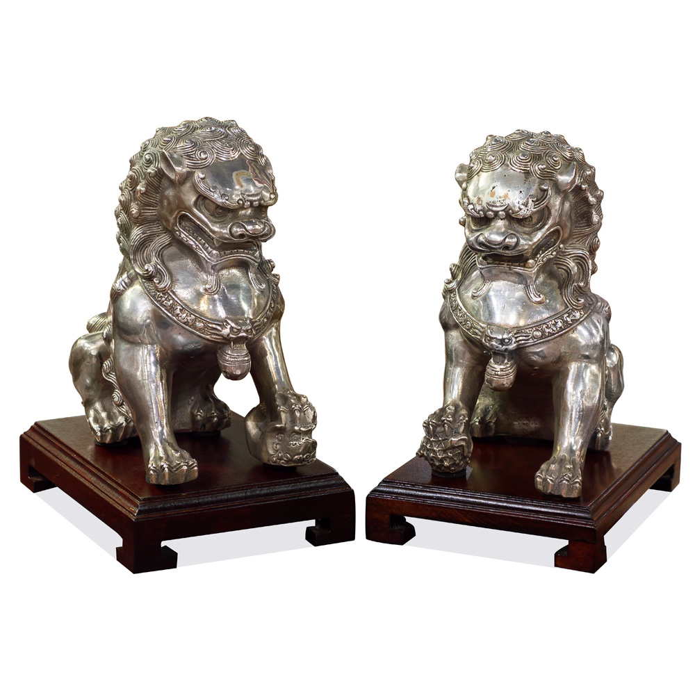 Silver Plated Foo Dog Oriental Figurine Set