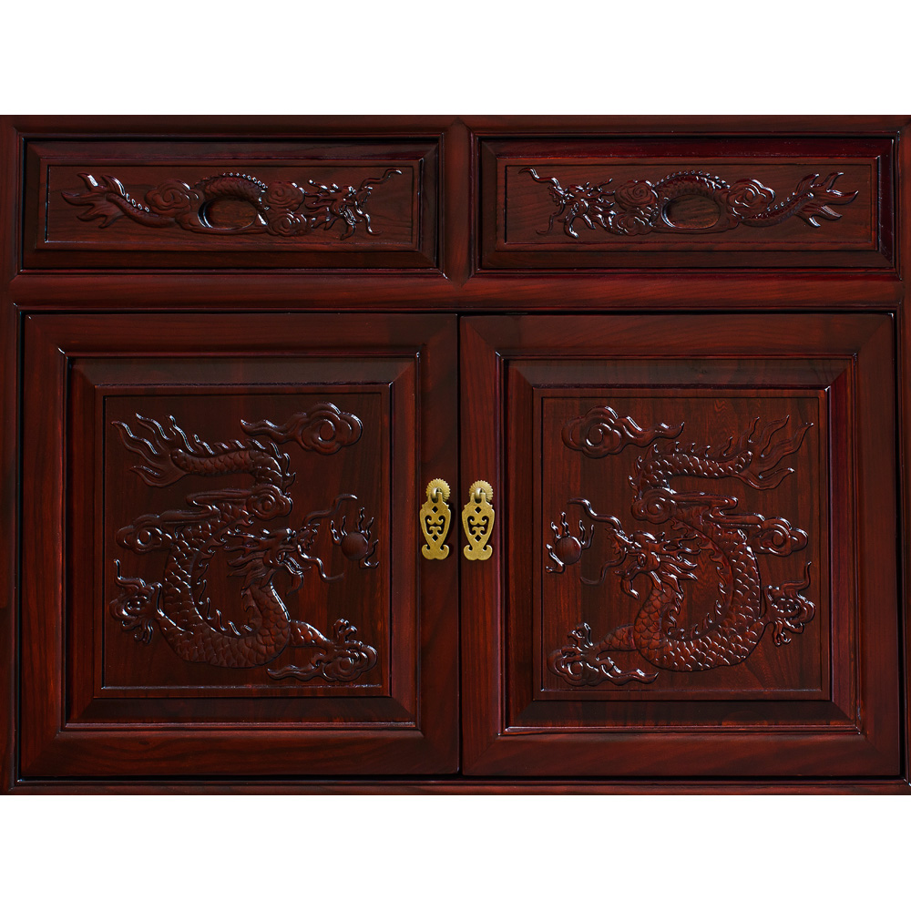 Dark Cherry Elmwood Dragon Motif Oriental Sideboard