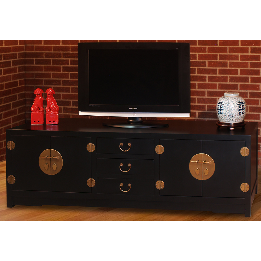 Black Elmwood Ming Media Cabinet
