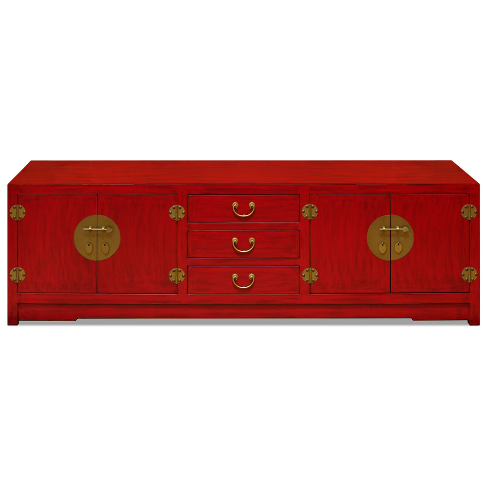 Distressed Red Elmwood Chinese Ming Media Cabinet
