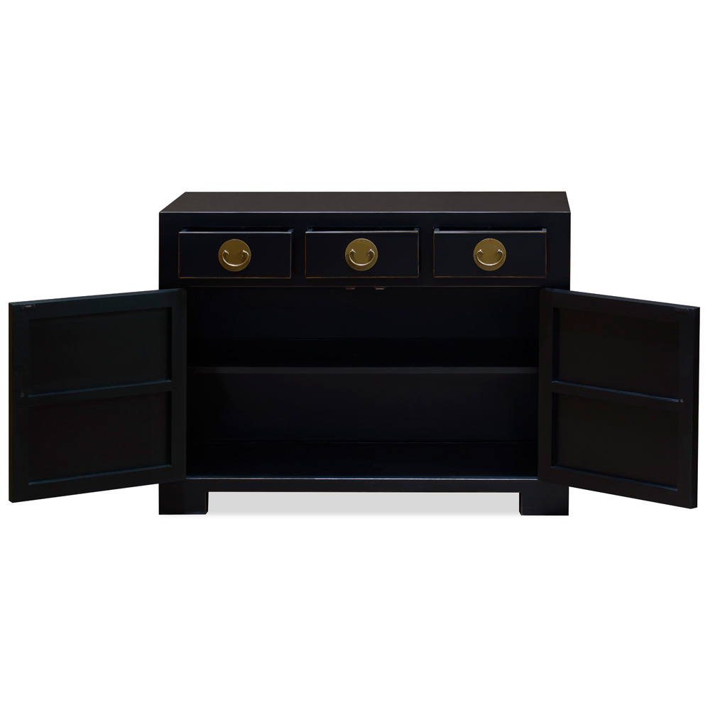 Matte Black Elmwood Chinese Ming Cabinet with Assorted Compartments