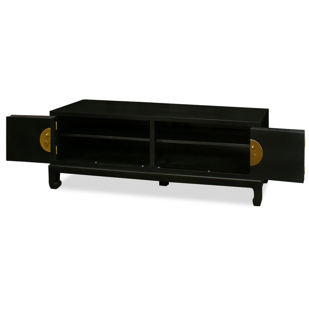 Black Grand Elmwood Chinese Kang Media Cabinet