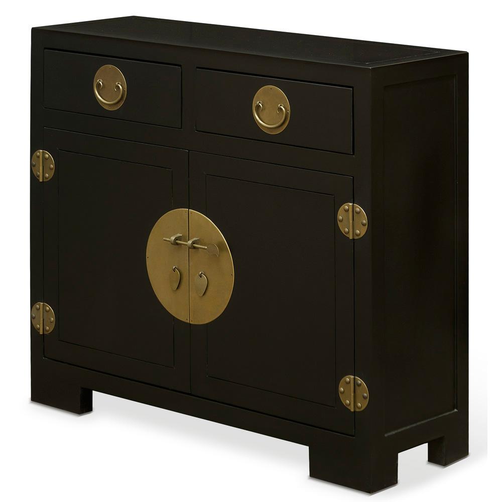 Matte Black Elmwood Chinese Ming Cabinet