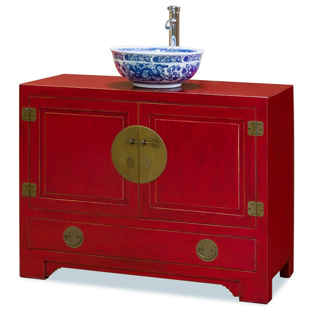 Elmwood red ming cabinet for Tansu bathroom vanity