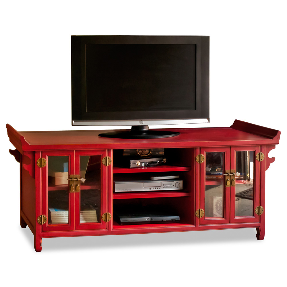 Elmwood altar style media cabinet for Asian console cabinet